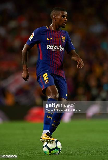 Nelson Semedo of Barcelona controls the ball during the La Liga match between Barcelona and Real Betis at Camp Nou on August 20 2017 in Barcelona...