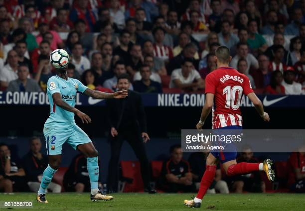 Nelson Semedo of Barcelona in action against Angel Correa of Atletico Madrid during the Spanish La Liga match between Atletico Madrid and Barcelona...