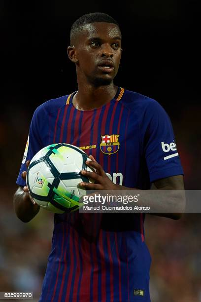 Nelson Semedo of Barcelona looks on during the La Liga match between Barcelona and Real Betis at Camp Nou on August 20 2017 in Barcelona Spain
