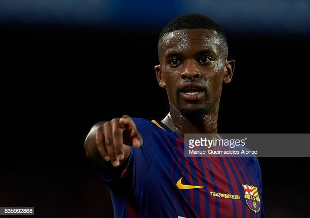 Nelson Semedo of Barcelona reacts during the La Liga match between Barcelona and Real Betis at Camp Nou on August 20 2017 in Barcelona Spain