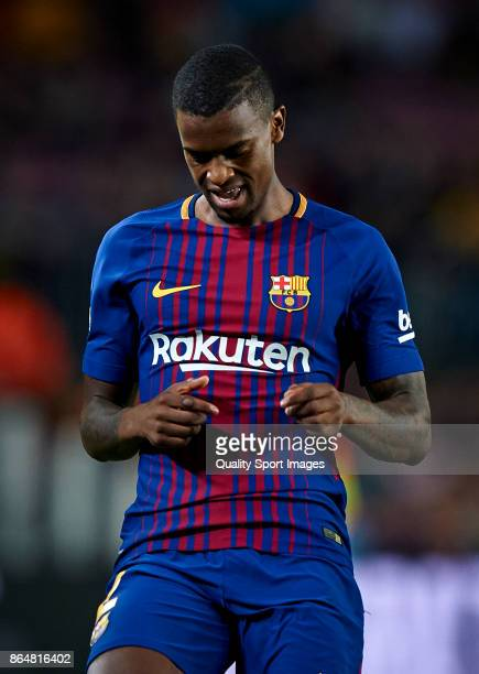 Nelson Semedo of Barcelona reacts during the La Liga match between Barcelona and Malaga at Camp Nou on October 21 2017 in Barcelona Spain