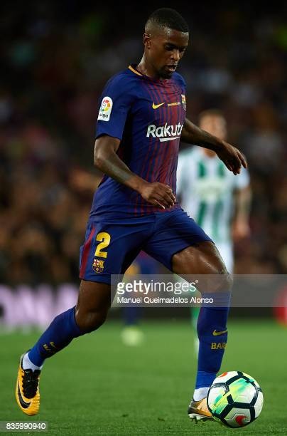 Nelson Semedo of Barcelona runs with the ball during the La Liga match between Barcelona and Real Betis at Camp Nou on August 20 2017 in Barcelona...