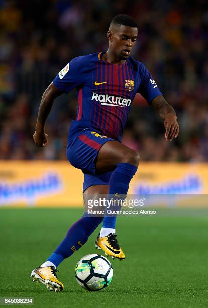 Nelson Semedo of Barcelona runs with the ball during the La Liga match between Barcelona and Espanyol at Camp Nou on September 9 2017 in Barcelona...