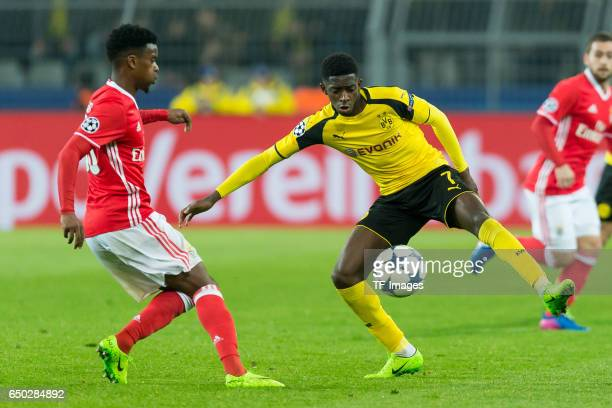 Nelson Semedo of Benfica and Ousmane Dembele of Borussia Dortmund battle for the ball during the UEFA Champions League Round of 16 Second Leg match...