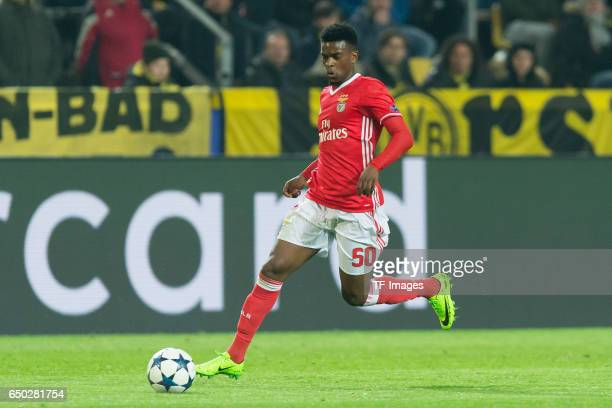 Nelson Semedo of Benfica controls the ball during the UEFA Champions League Round of 16 Second Leg match between Borussia Dortmund and SL Benfica at...