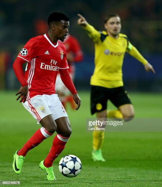 Nelson Semedo of Benfica runs with the ball during the UEFA Champions League Round of 16 second leg match between Borussia Dortmund and SL Benfica at...