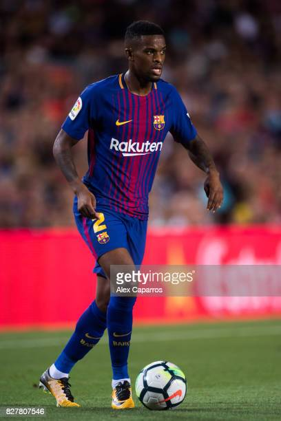 Nelson Semedo of FC Barcelona conducts the ball during the Joan Gamper Trophy match between FC Barcelona and Chapecoense at Camp Nou stadium on...