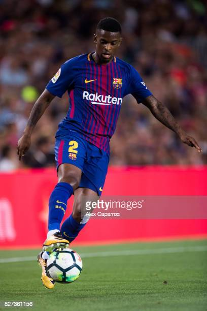 Nelson Semedo of FC Barcelona controls the ball during the Joan Gamper Trophy match between FC Barcelona and Chapecoense at Camp Nou stadium on...