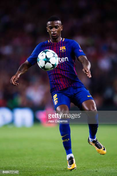 Nelson Semedo of FC Barcelona controls the ball during the UEFA Champions League group D match between FC Barcelona and Juventus at Camp Nou on...