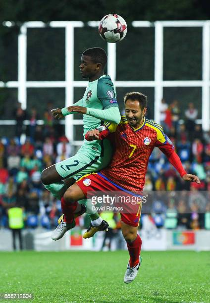 Nelson Semedo of Portugal competes for the ball with Ludovic Clemente of Andorra during the FIFA 2018 World Cup Qualifier between Andorra and...