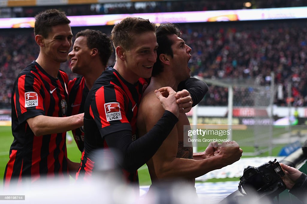 Nelson Valdez of Eintracht Frankfurt celebrates as he scores the fourth goal during the Bundesliga match between Eintracht Frankfurt and SC Paderborn 07 at Commerzbank-Arena on March 14, 2015 in Frankfurt am Main, Germany.