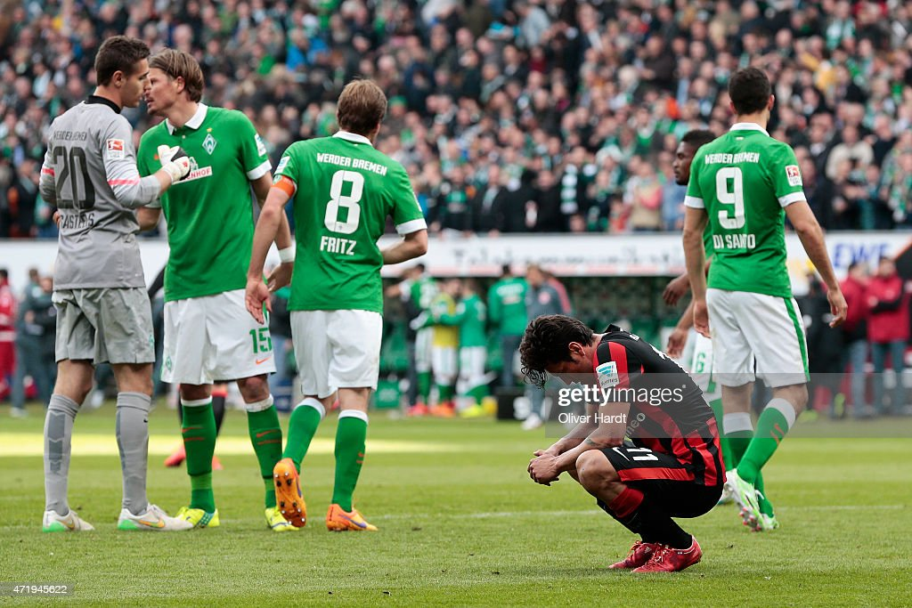 Nelson Valdez (C) of Frankfurt appears frustrated after the First Bundesliga match between SV Werder Bremen and Eintracht Frankfurt at Weserstadion on May 2, 2015 in Bremen, Germany.