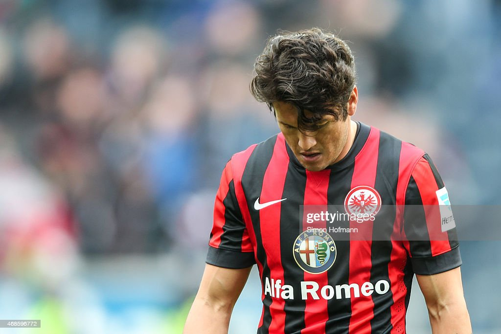 Nelson Valdez of Frankfurt reacts during the Bundesliga match between Eintracht Frankfurt and Hannover 96 at Commerzbank-Arena on April 4, 2015 in Frankfurt am Main, Germany.