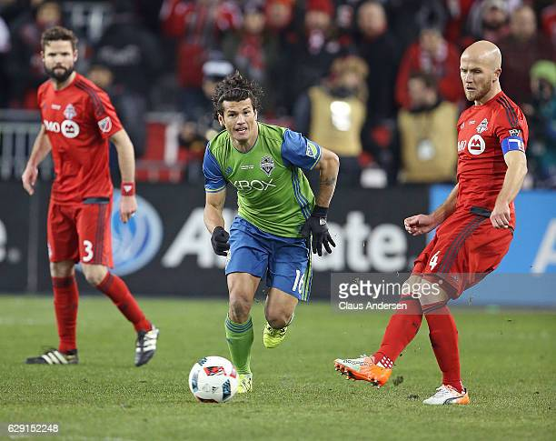 Nelson Valdez of the Seattle Sounders chases after a pass by Michael Bradley of the Toronto FC during the 2016 MLS Cup at BMO Field on December 10...