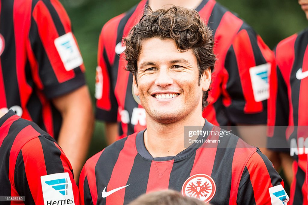 Nelson Valdez smiles during the Eintracht Frankfurt Team Presentation at Commerzbank-Arena on July 29, 2014 in Frankfurt am Main, Germany.