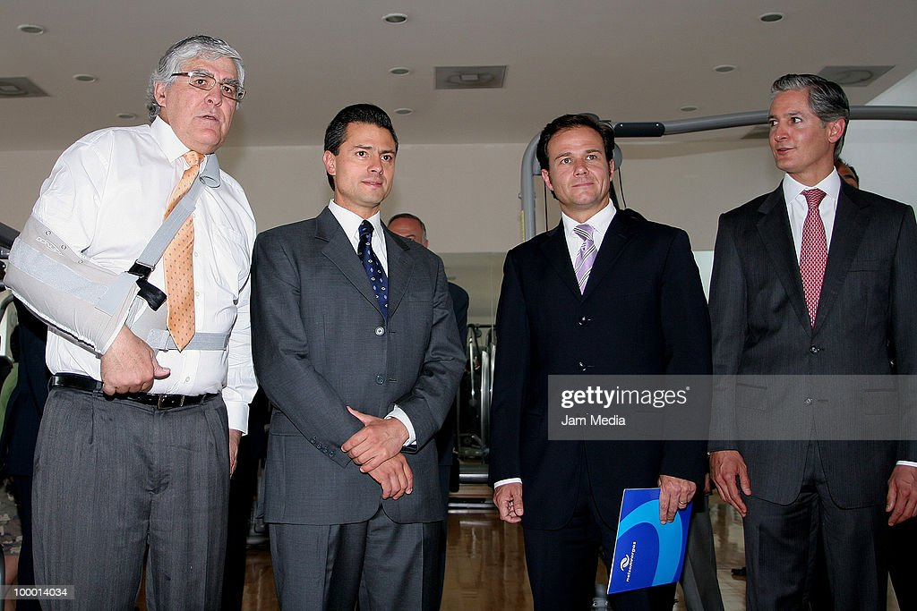 Nelson Vargas, Enrique Pena Nieto, Governor of Mexico State, Bernardo de la Garza and Alfredo del Mazo pose for a photograph during the Reopening the sports center Interlomas Nelson Vargas Family Fitness, at Family Fitness Interlomas on Mayo 19, 2010 in Mexico City, Mexico.
