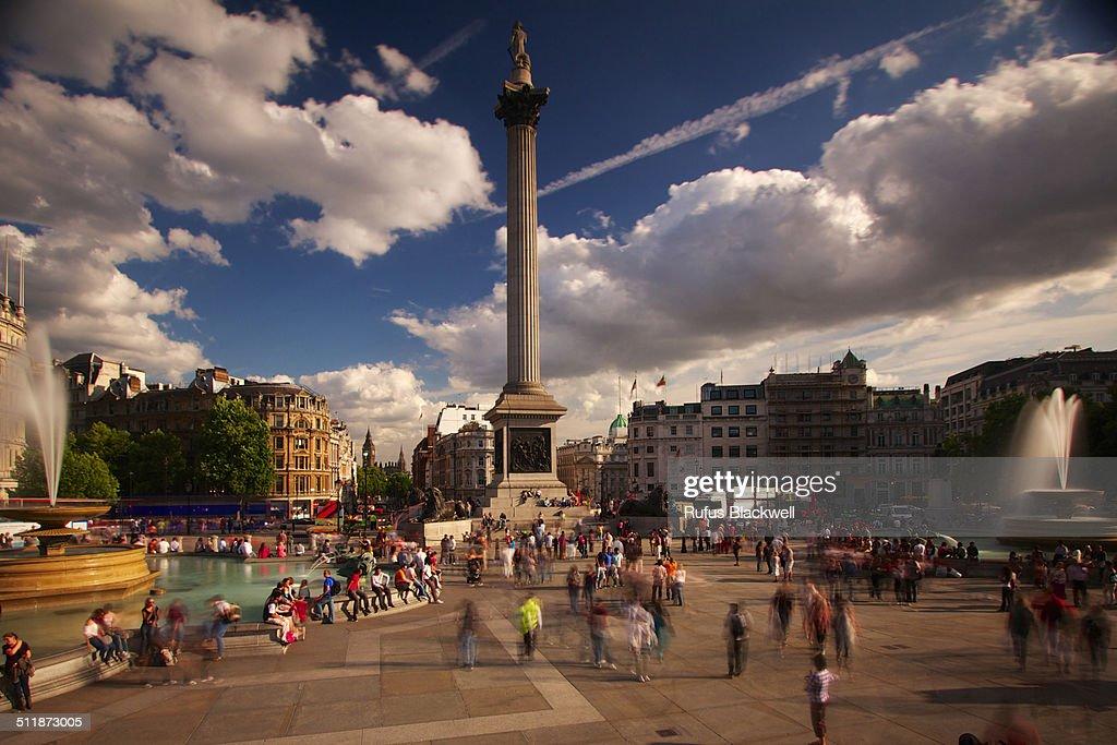 Nelson's column rises above Trafalgar Square