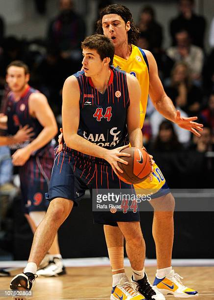 Nemaja Bjelica #44 of Caja Laboral competes with Kresimir Loncar #10 of BC Khimki Moscow Region during the 20102011 Turkish Airlines Euroleague...
