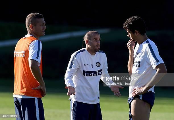 Nemaja Vidic Rodrigo Palacio and Andrea Ranocchia during FC Internazionale Training Session at Appiano Gentile on October 17 2014 in Como Italy