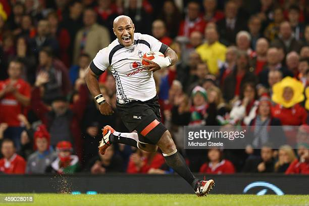 Nemani Nadolo of Fiji breaks free to score his sides only try during the International match between Wales and Fiji at the Millennium Stadium on...