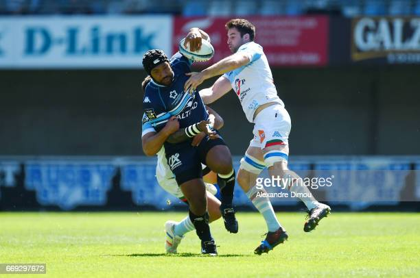 Nemani Nadolo of Montpellier and Martin Laveau of Bayonne during the Top 14 match between Montpellier and Bayonne on April 16 2017 in Montpellier...
