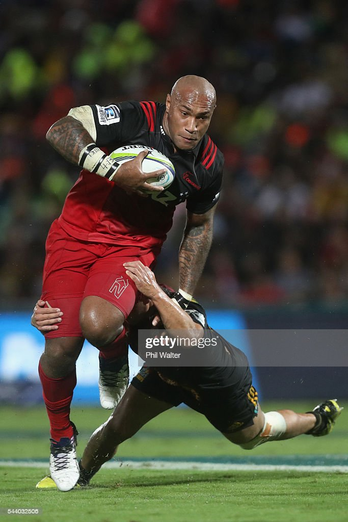 <a gi-track='captionPersonalityLinkClicked' href=/galleries/search?phrase=Nemani+Nadolo&family=editorial&specificpeople=6547098 ng-click='$event.stopPropagation()'>Nemani Nadolo</a> of the Crusaders is tackled during the round 15 Super Rugby match between the Chiefs and the Crusaders at ANZ Stadium on July 1, 2016 in Suva, Fiji.