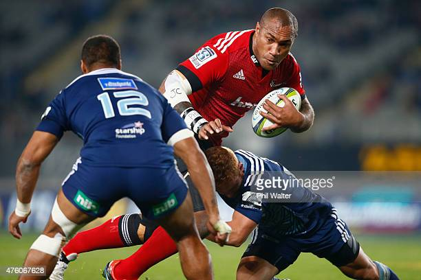 Nemani Nadolo of the Crusaders is tackled during the round 17 Super Rugby match between the Blues and the Crusaders at Eden Park on June 6 2015 in...