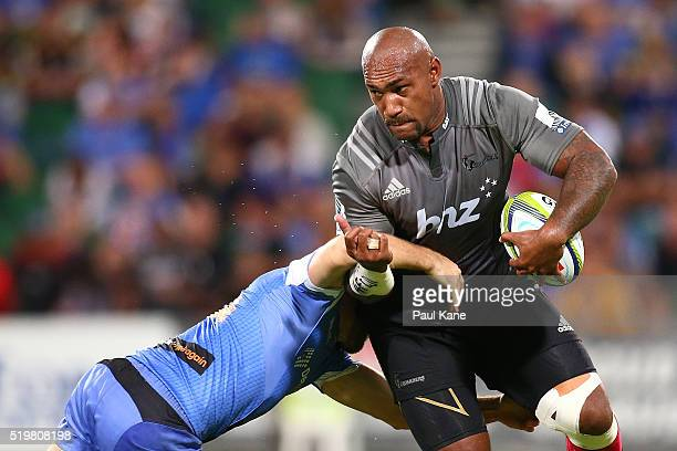 Nemani Nadolo of the Crusaders looks to break form a tackle during the round seven Super Rugby match between the Force and the Crusaders at nib...
