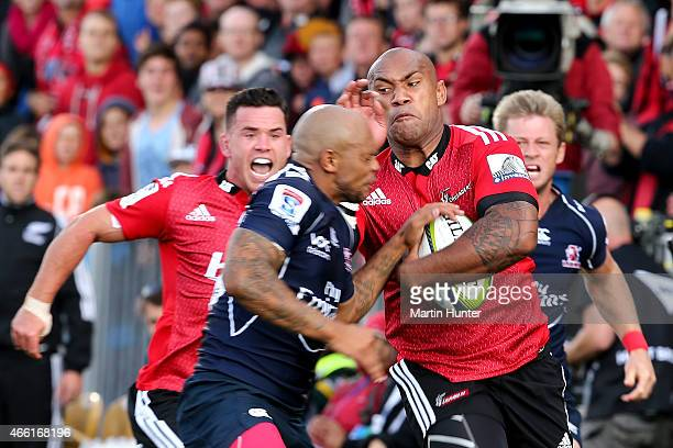 Nemani Nadolo of the Crusaders makes a break during the round five Super Rugby match between the Crusaders and the Lions at AMI Stadium on March 14...