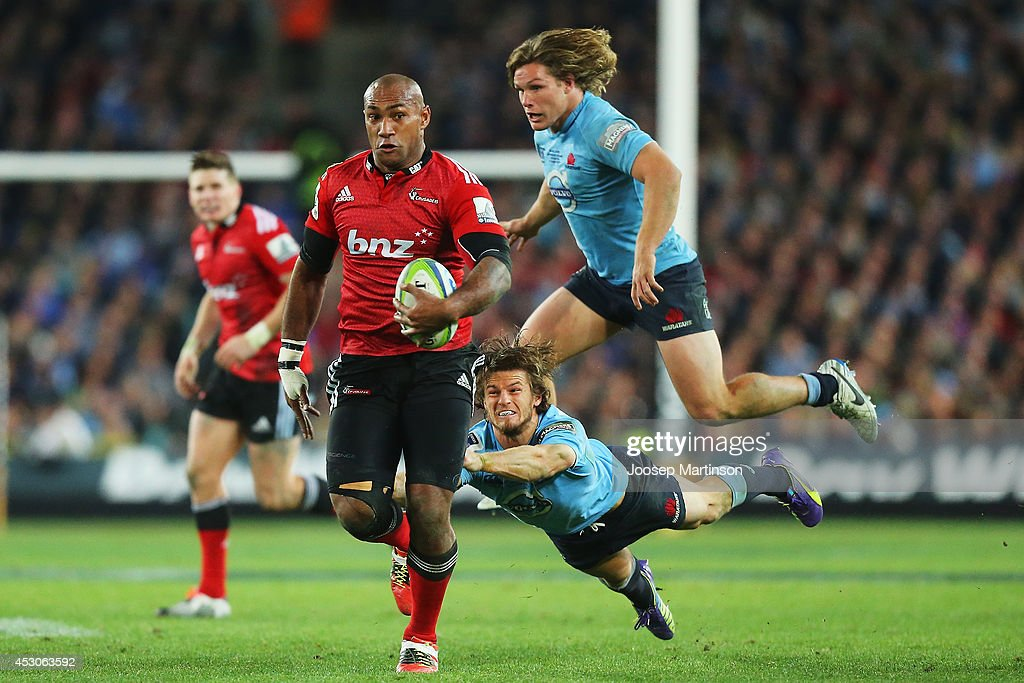 Nemani Nadolo of the Crusaders makes a break during the Super Rugby Grand Final match between the Waratahs and the Crusaders at ANZ Stadium on August...