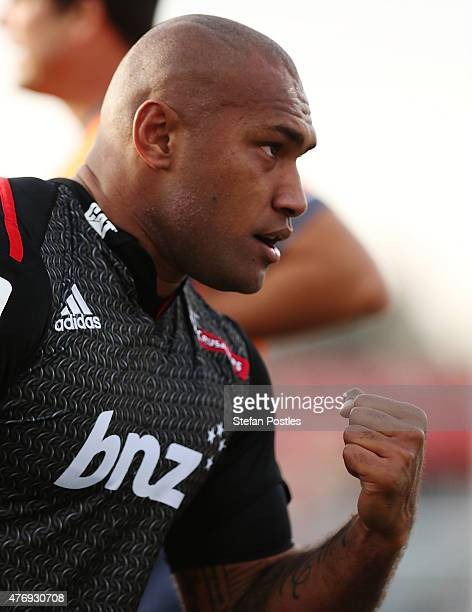 Nemani Nadolo of the Crusaders reacts after scoring a try during the round 18 Super Rugby match between the Brumbies and the Crusaders at GIO Stadium...
