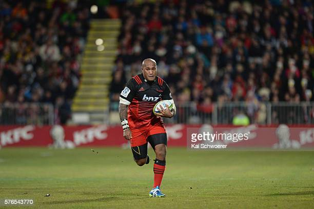 Nemani Nadolo of the Crusaders runs with the ball during the round 17 Super Rugby match between the Crusaders and the Hurricanes at AMI Stadium on...