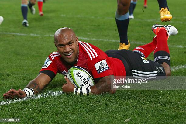 Nemani Nadolo of the Crusaders scores a try during the round 15 Super Rugby match between the Waratahs and the Crusaders at ANZ Stadium on May 23...