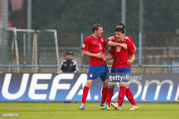 Nemanja Antonov and Luka Jovic of Serbia celebrate after scoring during the UEFA Under19 European Championship match between U19 Germany and U19...
