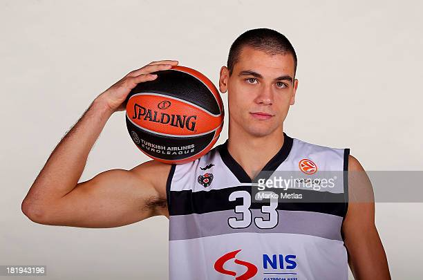 Nemanja Bezbradica of Partizan NIS Belgrad during the Partizan NIS Belgrad 2013/14 Turkish Airlines Euroleague Basketball Media Day session at Pionir...