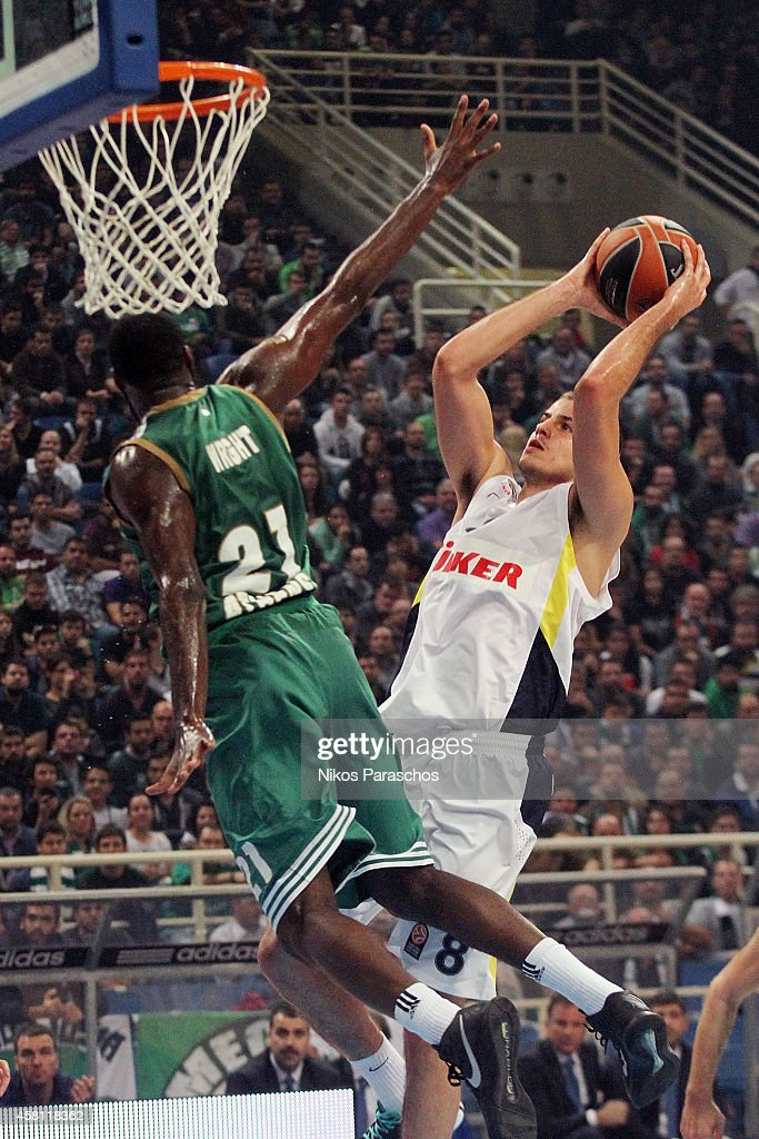 <a gi-track='captionPersonalityLinkClicked' href=/galleries/search?phrase=Nemanja+Bjelica&family=editorial&specificpeople=5625698 ng-click='$event.stopPropagation()'>Nemanja Bjelica</a>, #8 of Fenerbahce Ulker Istanbul in action during the 2014-2015 Turkish Airlines Euroleague Basketball Regular Season Date 3 game between Panathinaikos Athens v Fenerbahce Ulker Istanbul at Olympic Sports Center Athens on October 30, 2014 in Athens, Greece.