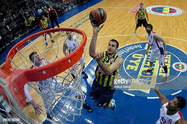 Nemanja Bjelica #8 of Fenerbahce Ulker Istanbul in action during the Euroleague Basketball Top 16 Date 1 game between Fenerbahce Ulker Istanbul v...