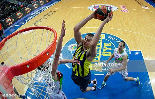 Nemanja Bjelica #8 of Fenerbahce Ulker Istanbul in action during the Euroleague Basketball Top 16 Date 6 game between Fenerbahce Ulker Istanbul v...