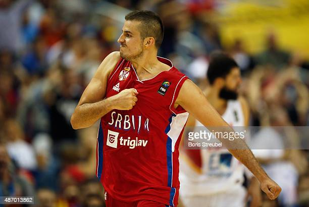 Nemanja Bjelica of Serbia celebrates during the FIBA EuroBasket 2015 Group B basketball match between Spain and Serbia at Arena of EuroBasket 2015 on...