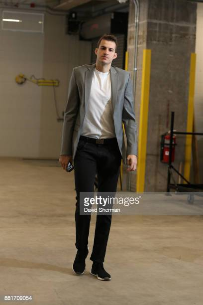 Nemanja Bjelica of the Minnesota Timberwolves arrives at the arena before the game against the Phoenix Suns on November 26 2017 at Target Center in...