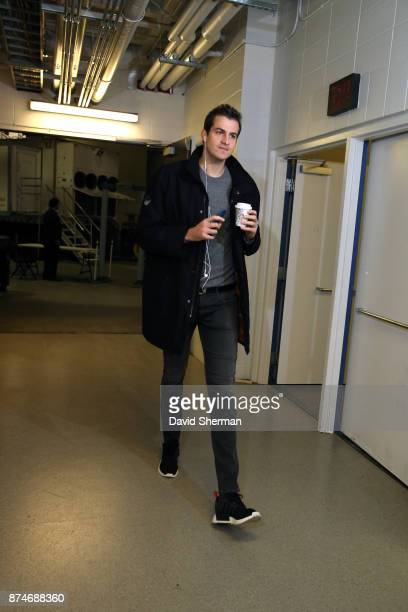 Nemanja Bjelica of the Minnesota Timberwolves arrives before the game against the San Antonio Spurs on November 15 2017 at Target Center in...