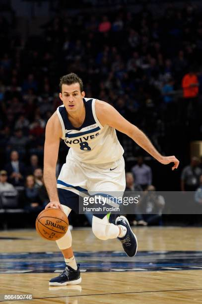 Nemanja Bjelica of the Minnesota Timberwolves dribbles the ball against the Indiana Pacers during the game on October 24 2017 at the Target Center in...