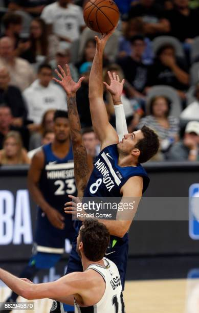 Nemanja Bjelica of the Minnesota Timberwolves drive for two against the San Antonio Spurs at ATT Center on October 18 2017 in San Antonio Texas NOTE...