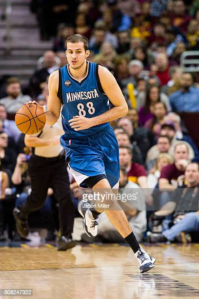 Nemanja Bjelica of the Minnesota Timberwolves drives down the court during the second half against the Cleveland Cavaliers at Quicken Loans Arena on...