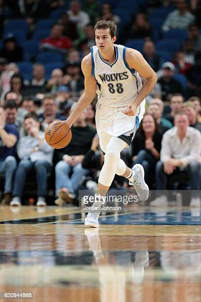 Nemanja Bjelica of the Minnesota Timberwolves drives to the basket against the Denver Nuggets during the game on November 3 2016 at Target Center in...