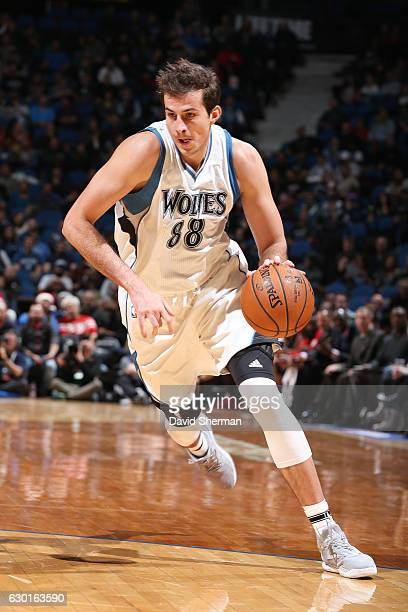 Nemanja Bjelica of the Minnesota Timberwolves drives to the basket against the Houston Rockets on December 17 2016 at Target Center in Minneapolis...