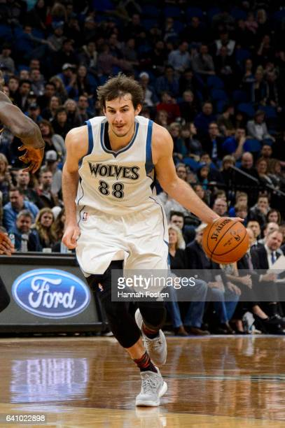 Nemanja Bjelica of the Minnesota Timberwolves drives to the basket against the Memphis Grizzlies during the game on February 4 2017 at the Target...