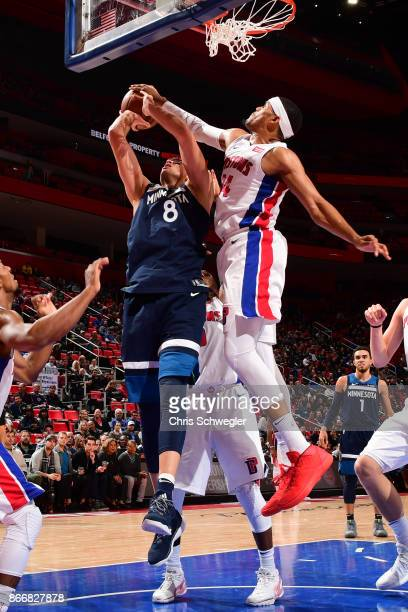 Nemanja Bjelica of the Minnesota Timberwolves drives to the basket against the Detroit Pistons on October 25 2017 at Little Caesars Arena in Detroit...