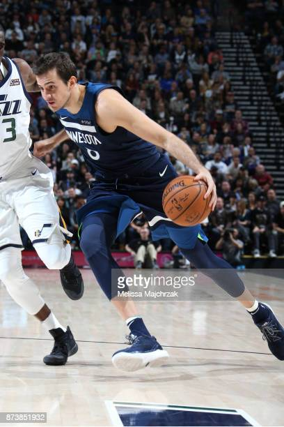 Nemanja Bjelica of the Minnesota Timberwolves drives to the basket against the Utah Jazz on Novemeber 13 2017 at Vivint Smart Home Arena in Salt Lake...
