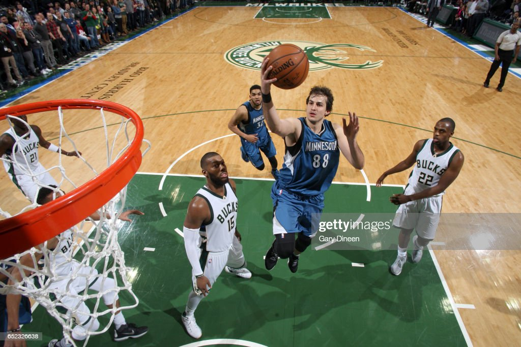 Nemanja Bjelica #88 of the Minnesota Timberwolves goes to the basket against the Milwaukee Bucks on March 11, 2017 at the BMO Harris Bradley Center in Milwaukee, Wisconsin.